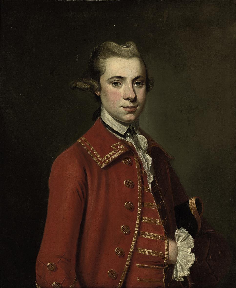 Portrait of a gentleman, half-length, in a Burgundy coat and waistcoat, with a tricorn hat under his left arm