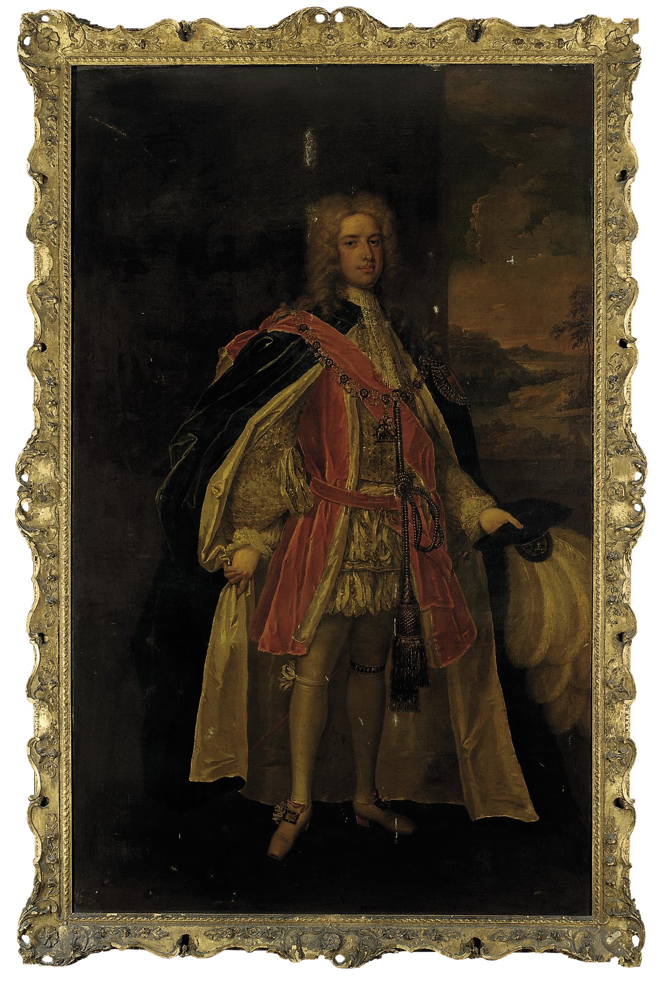 Portrait of Thomas Pelham-Holles, 1st Duke of Newcastle-upon-Tyne and 1st Duke of Newcastle-under-Lyne (1693-1768), full-length, in Garter robes, his hat in his left hand, a landscape beyond