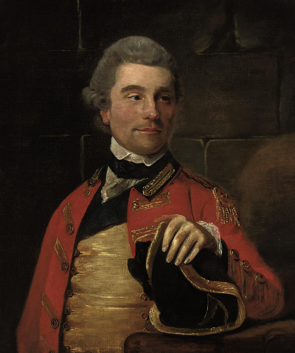 Portrait of a gentleman, bust-length, in military uniform, a tricorn hat in his left hand resting on a ledge