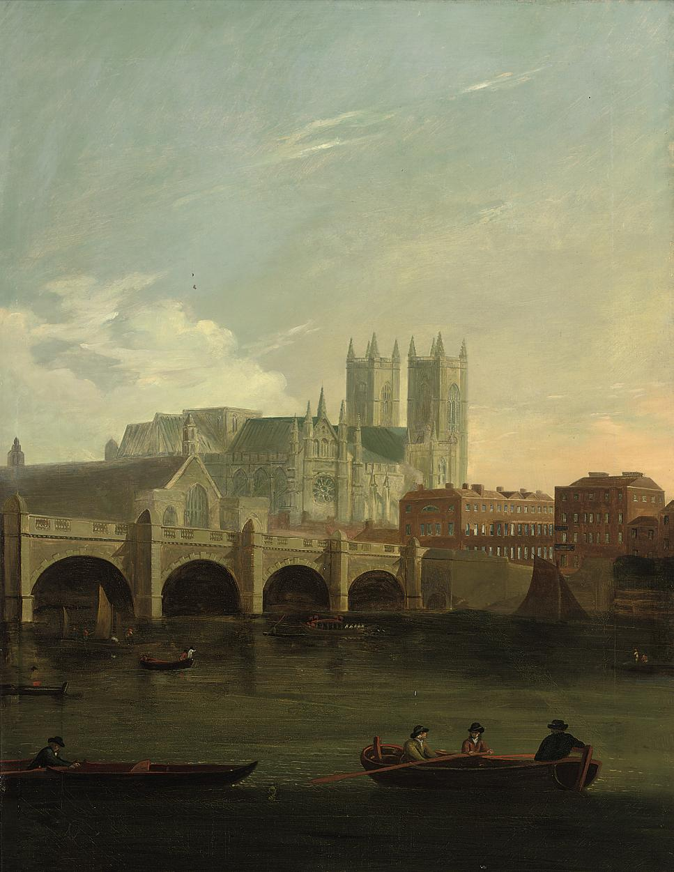 A view of Westminster Bridge with figures and boats on the Thames