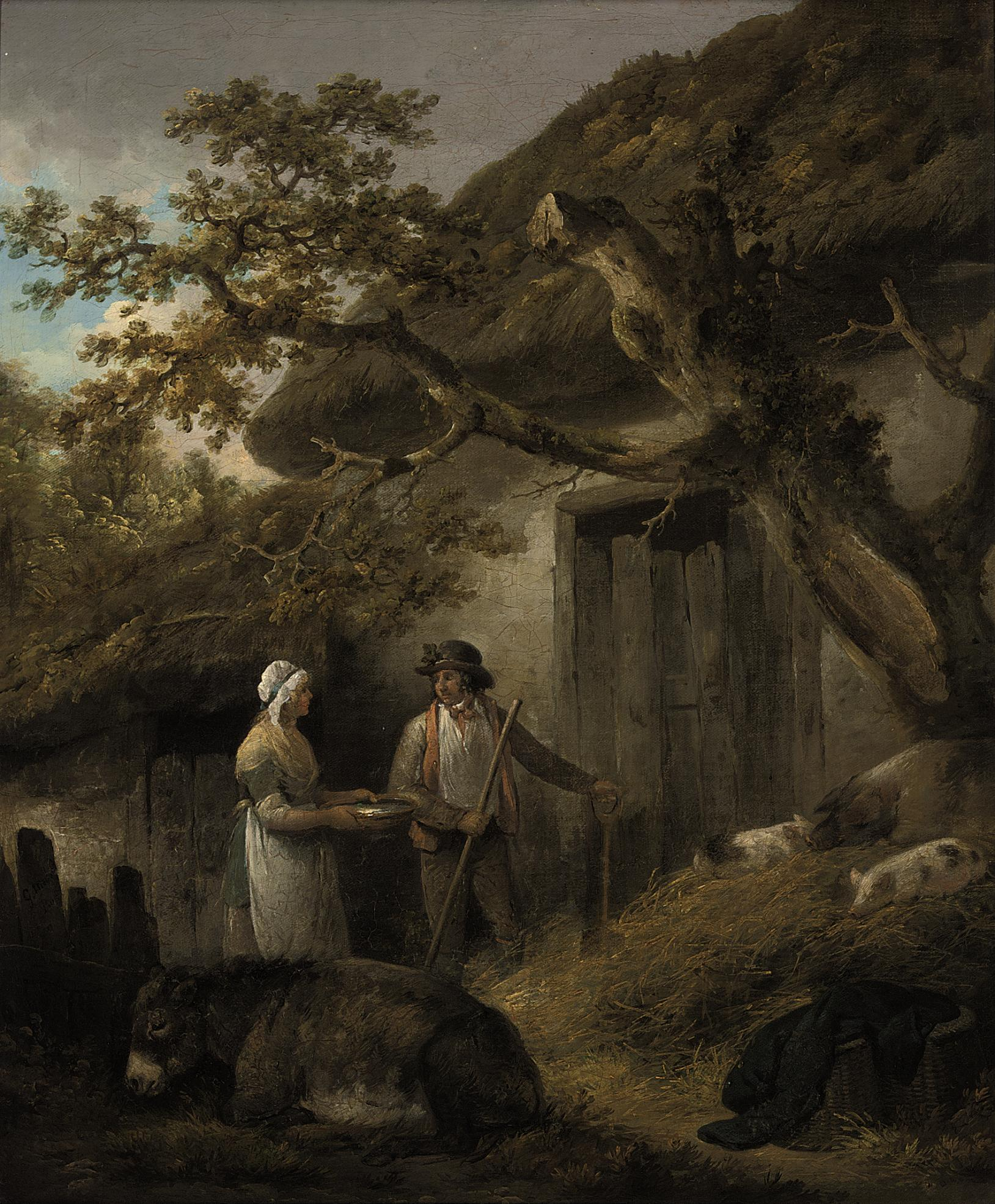 A man and a woman outside a cottage with pigs and a donkey