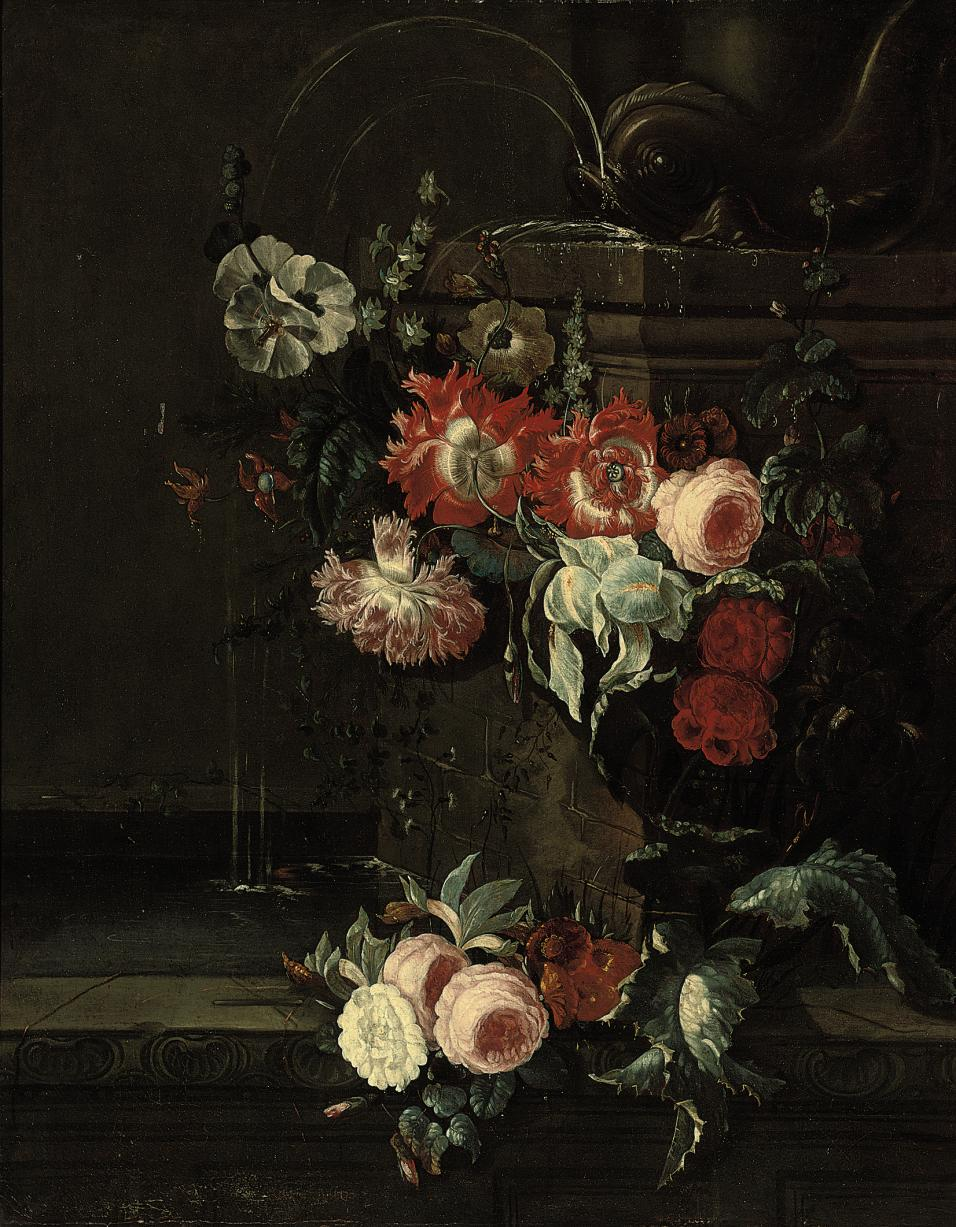 An iris, ornamental poppies, roses, hollyhocks and other flowers decorating a classical fountain