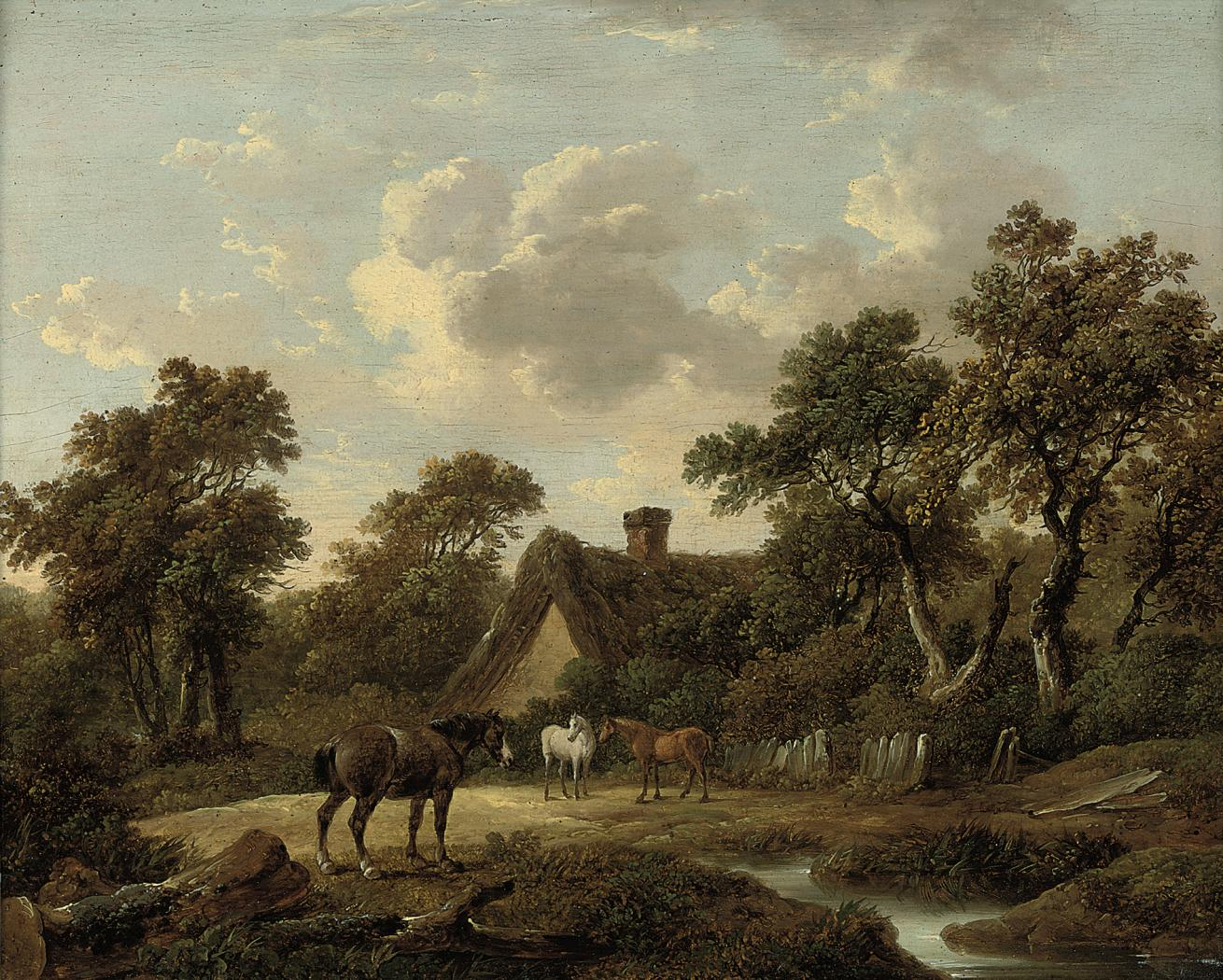Horses before a country cottage