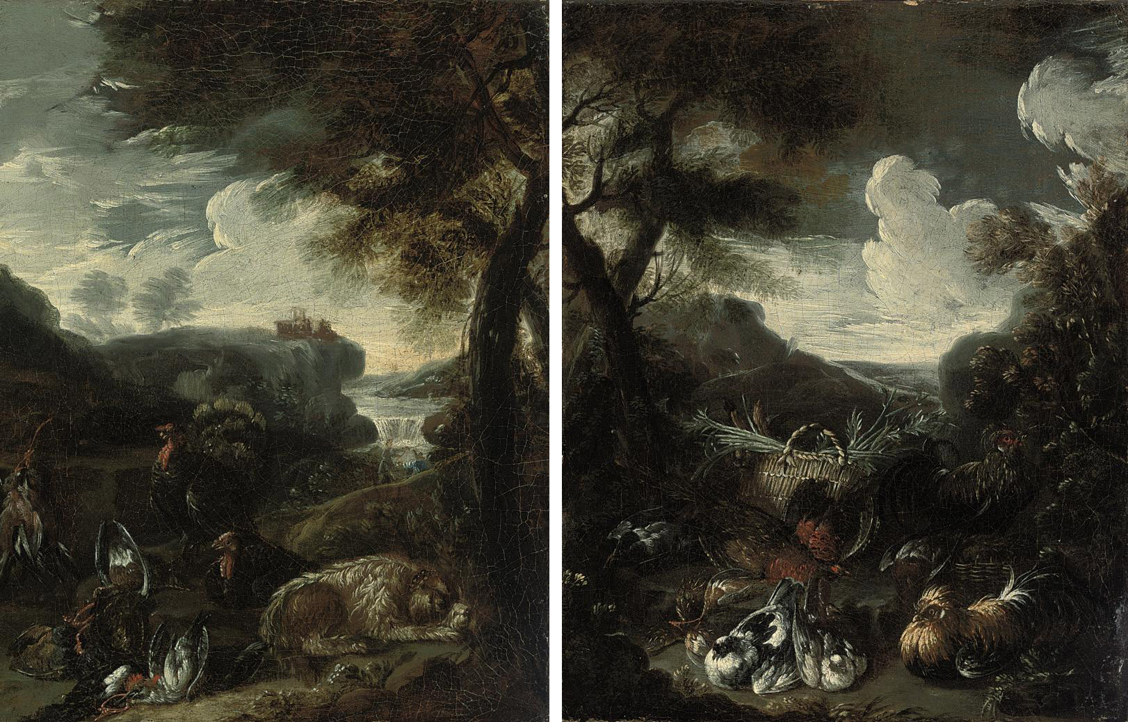 A wooded river landscape with a dog, two cockerels and dead game, a waterfall beyond; and A wooded landscape with a cockerel, hens and other birds