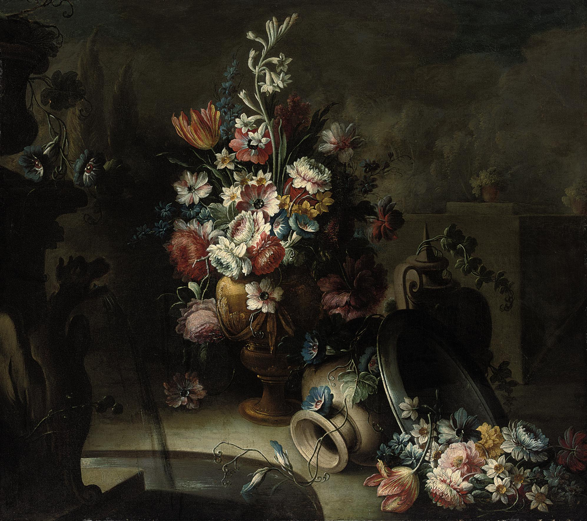 Roses, tulips, morning glory, narcissi and other flowers in a sculpted urn, with two vases and a plate with flowers, beside a fountain
