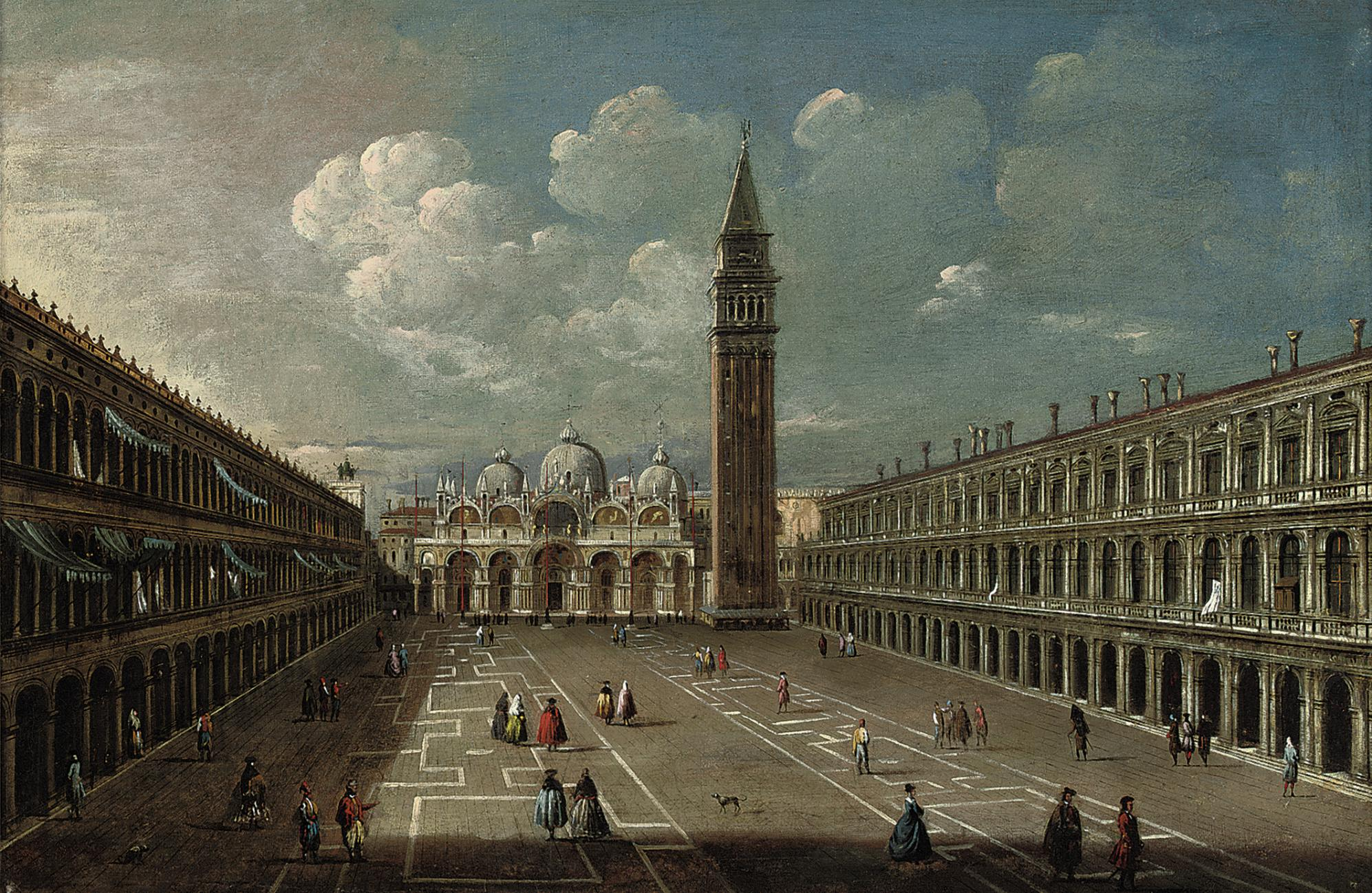 Piazza San Marco, Venice, looking East, with the Torre dell'Orologio, the Campanile, the Doge's Palace and the Procuratie Nuove