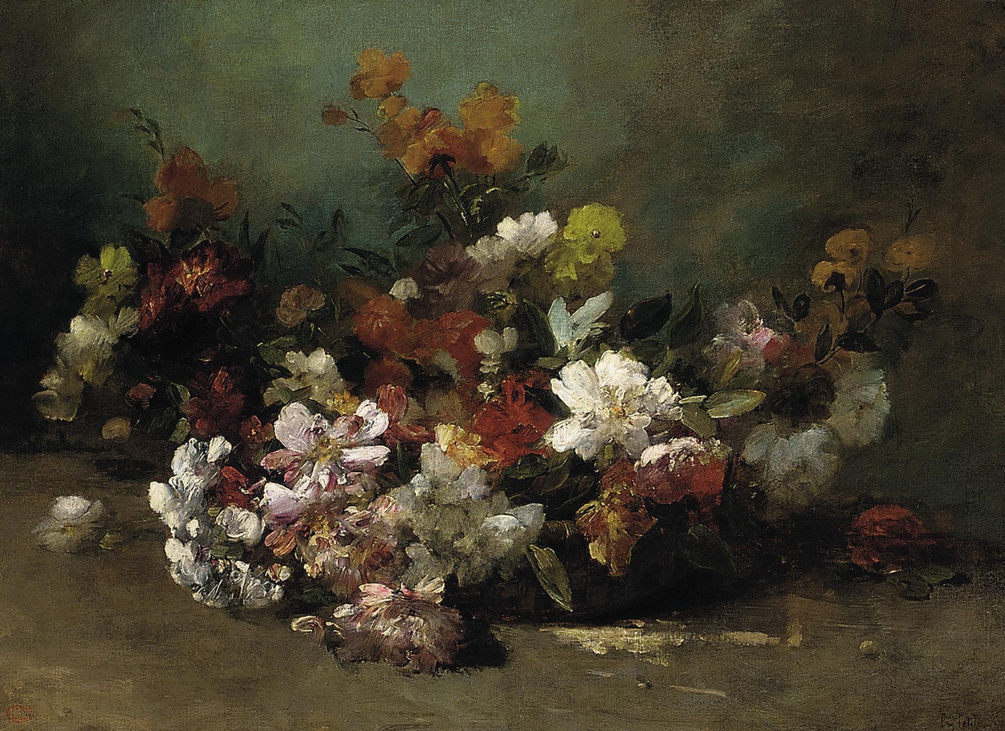 Summer blooms in a basket