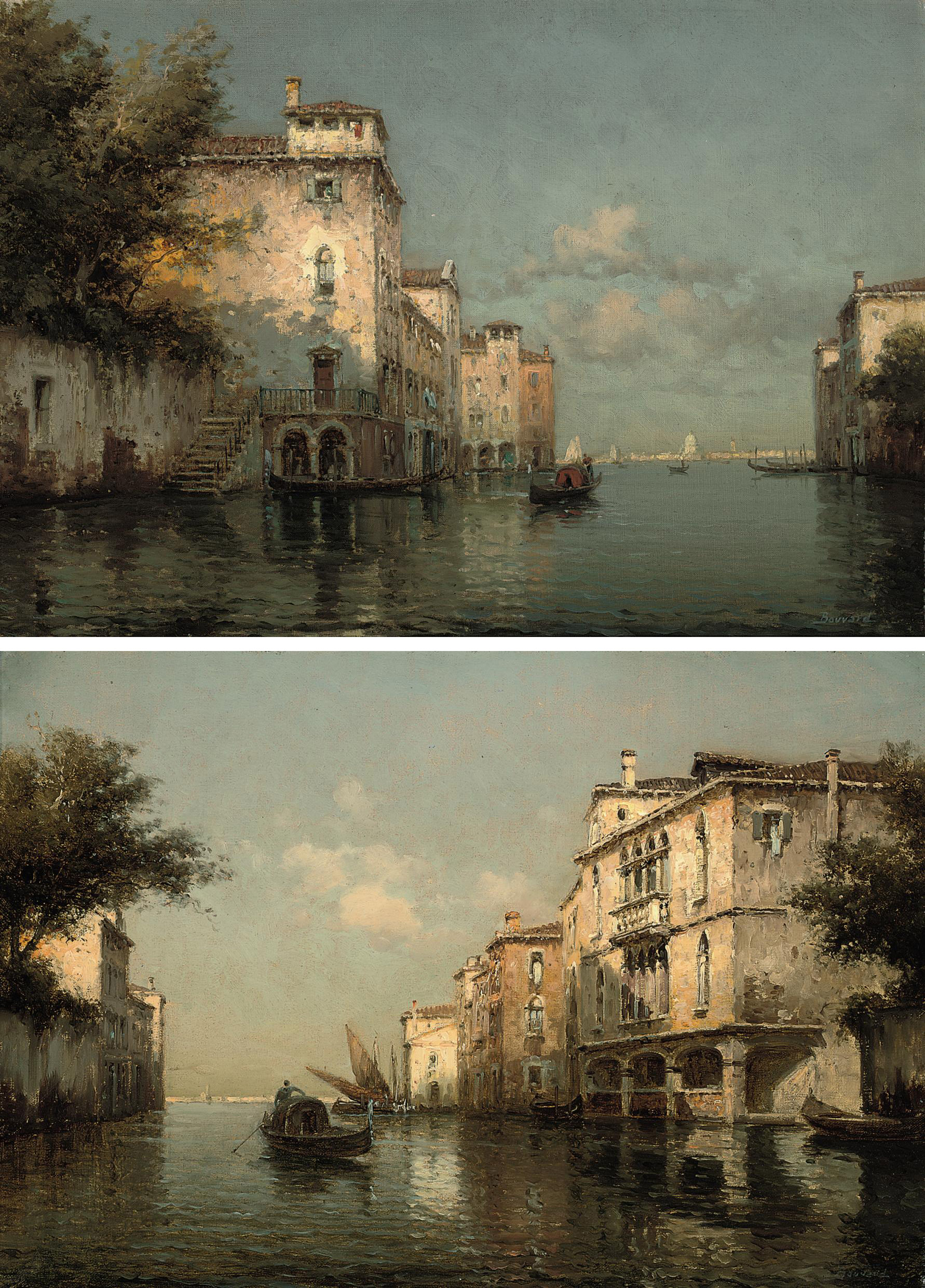 Gondolier on the Grand Canal; and A gondolier on a Venetian backwater