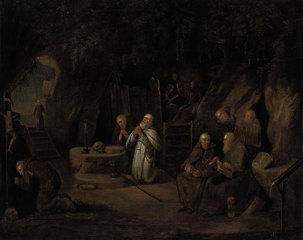 Hermit monks in a grotto