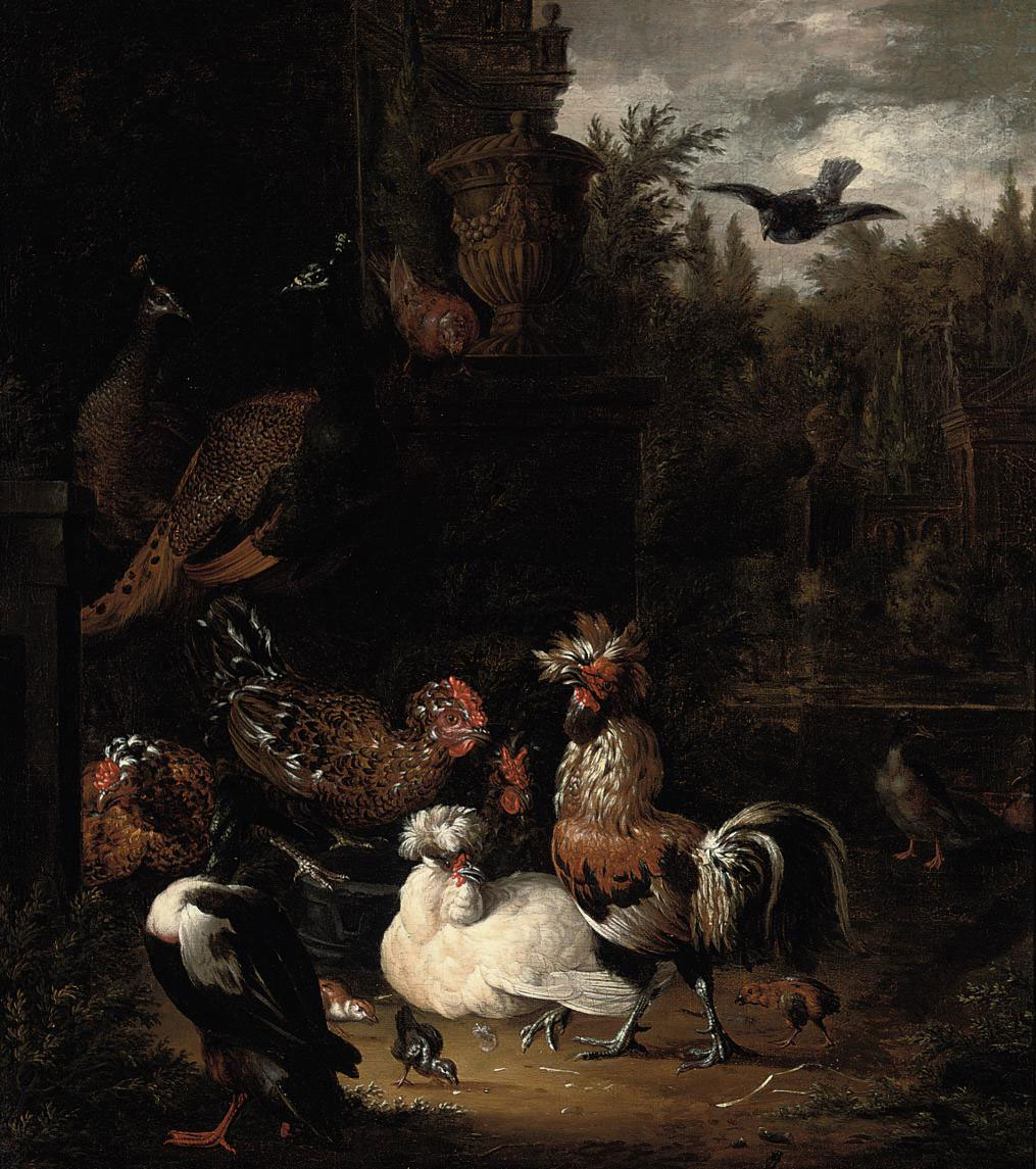 A rooster with hens, chicks, ducks, peacocks and pigeons by a classical urn, in a park landscape