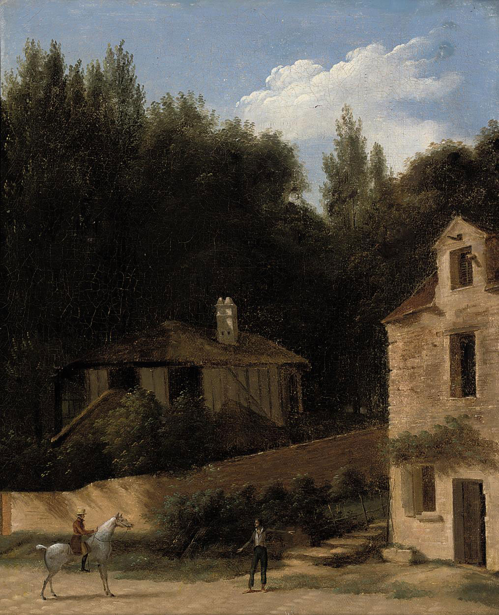 An Italianate wooded landscape with a gentleman on horseback before a house