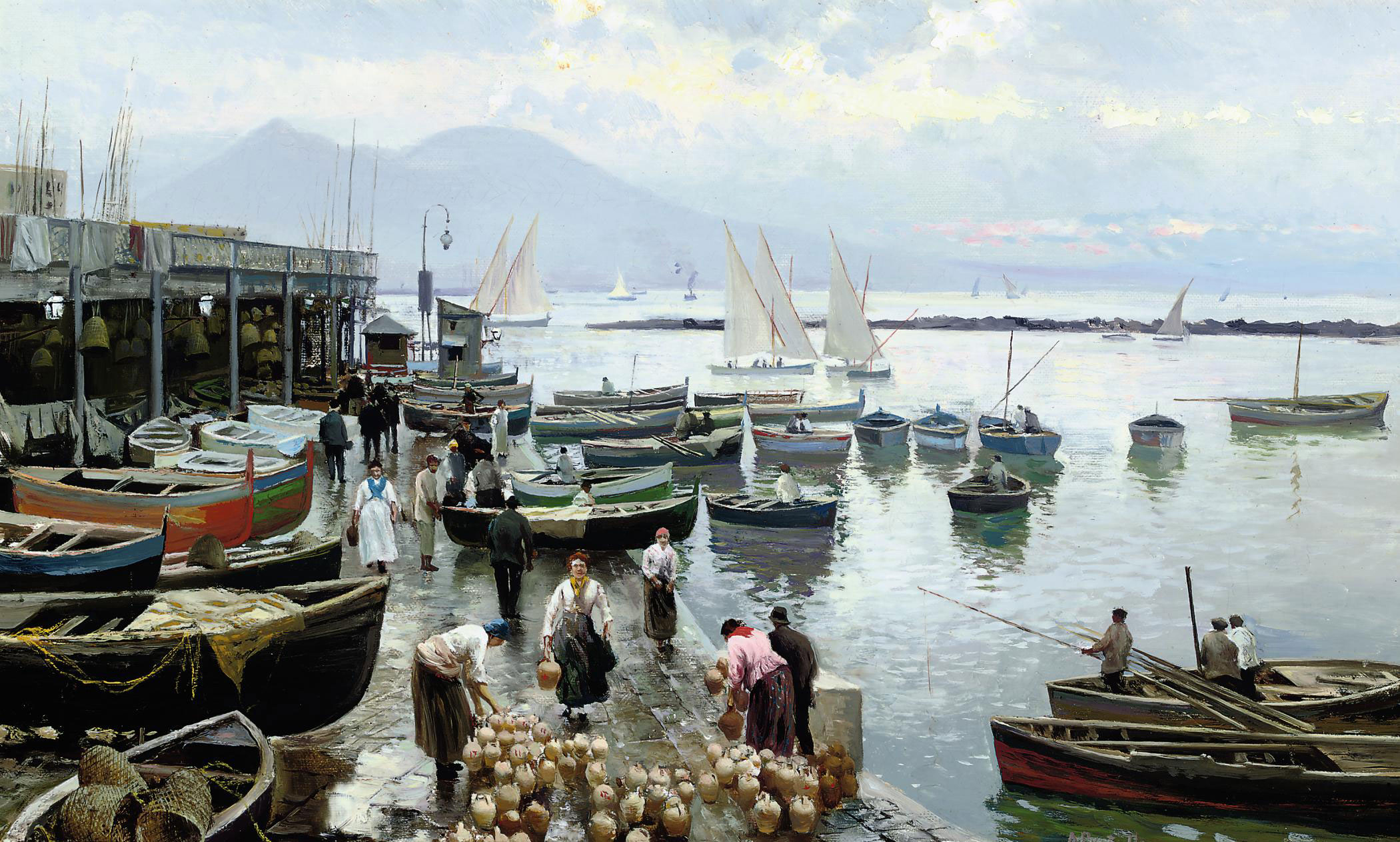 A busy quay at Naples, Vesuvius beyond