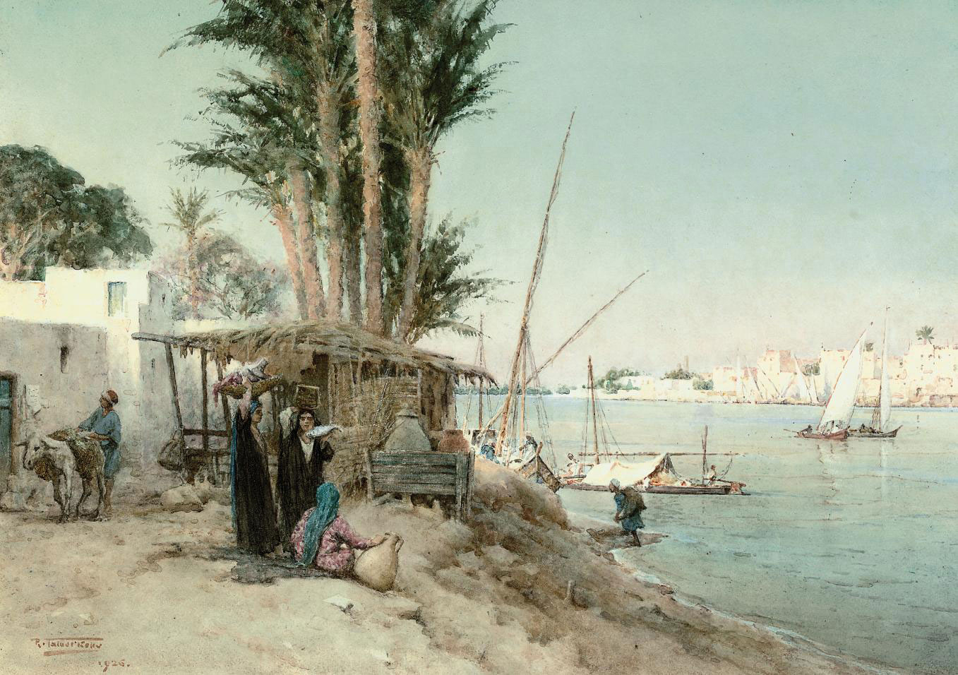 Traders on the banks of the Nile