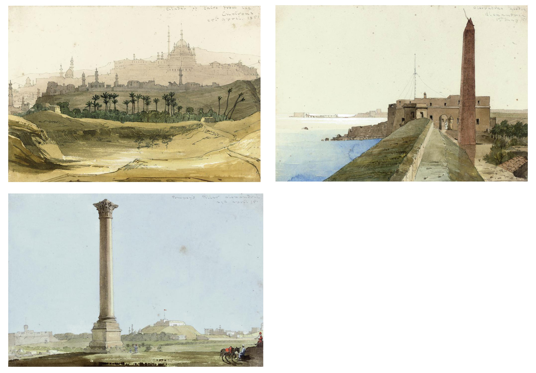 The Citadel of Cairo from the environs; Cleopatra's Needle, Alexandria; and Pompey's Pillar, Alexandria