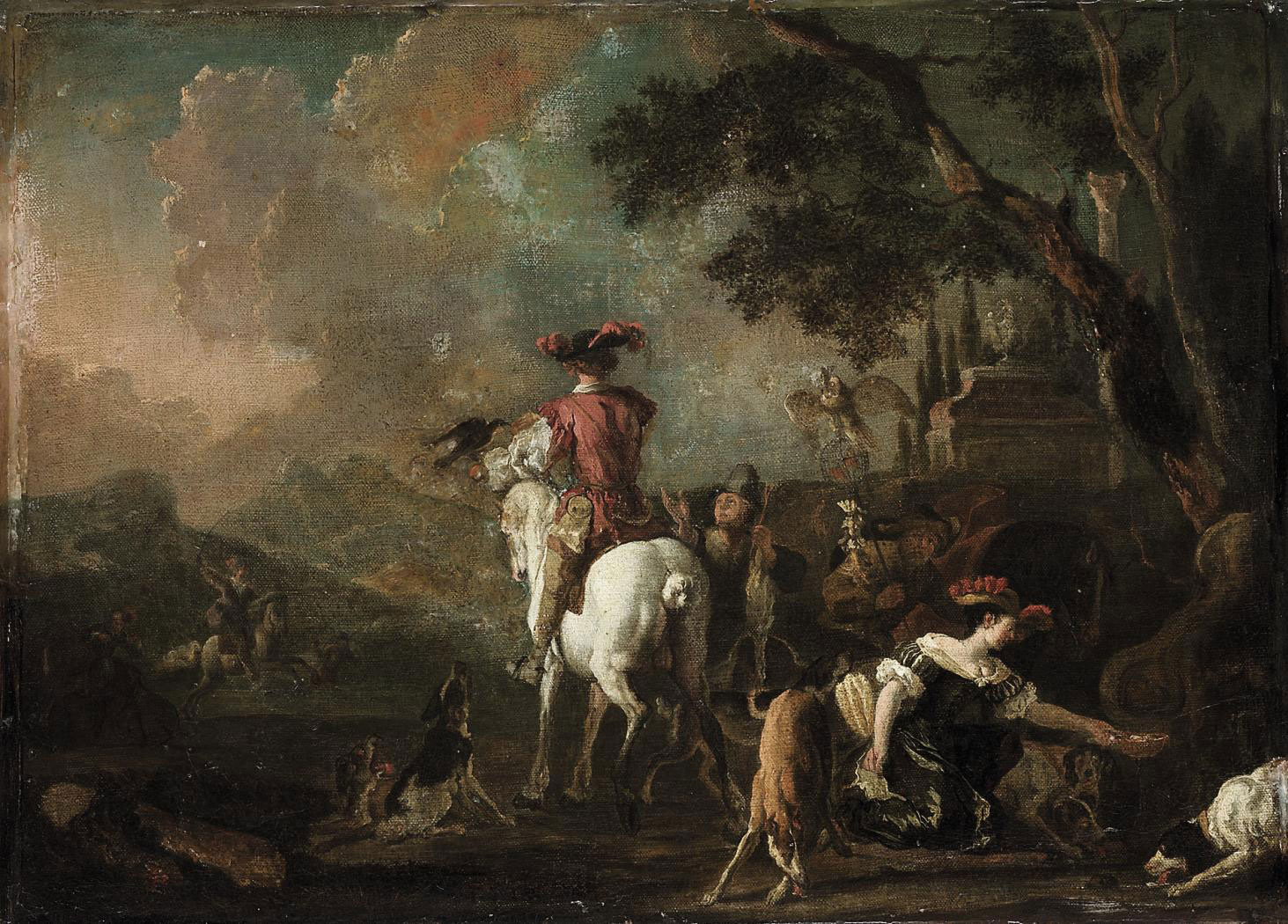 A hawking party in a wooded landscape, with an elegantly dressed lady taking water from a fountain