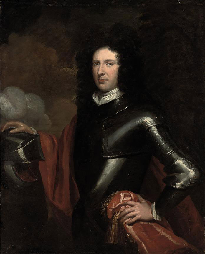 Portrait of a gentleman, traditionally identified as Major Robert Duncanson, three-quarter-length, in armour, his right hand resting on a helmet
