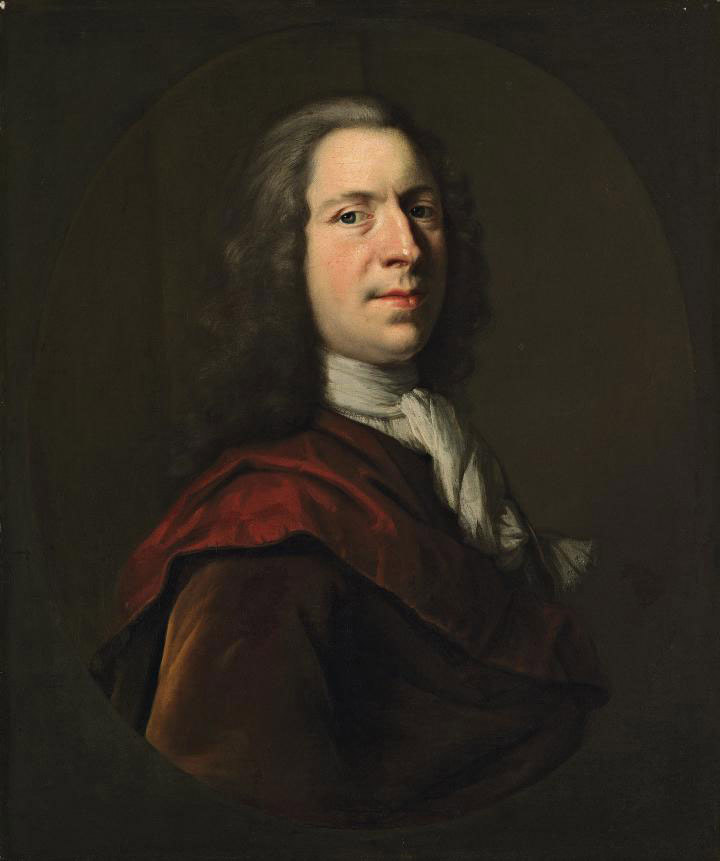 Portrait of the artist, bust-length, in white stock and a red coat, in a feigned oval