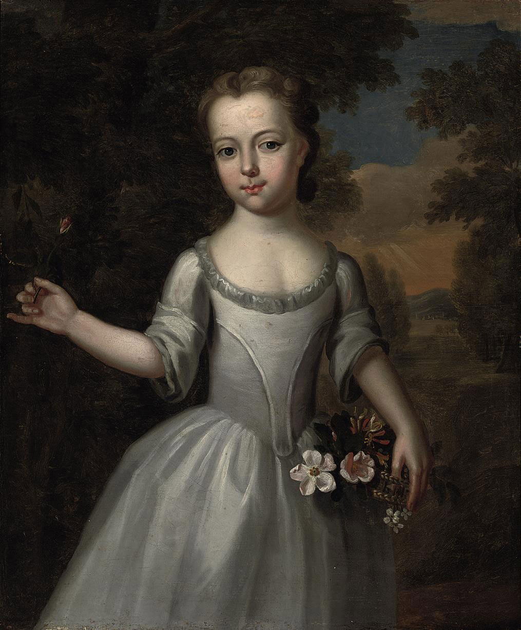 Portrait of a young girl, three-quarter-length, in a grey dress with a basket of flowers in a landscape