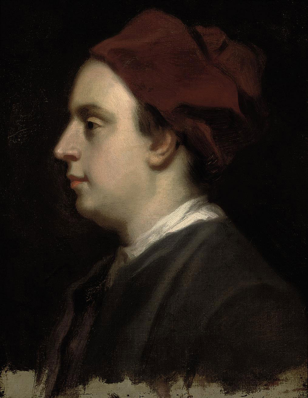 Portrait of a gentleman thought to be John Gay (1685-1732), bust-length, in a black coat and red cap