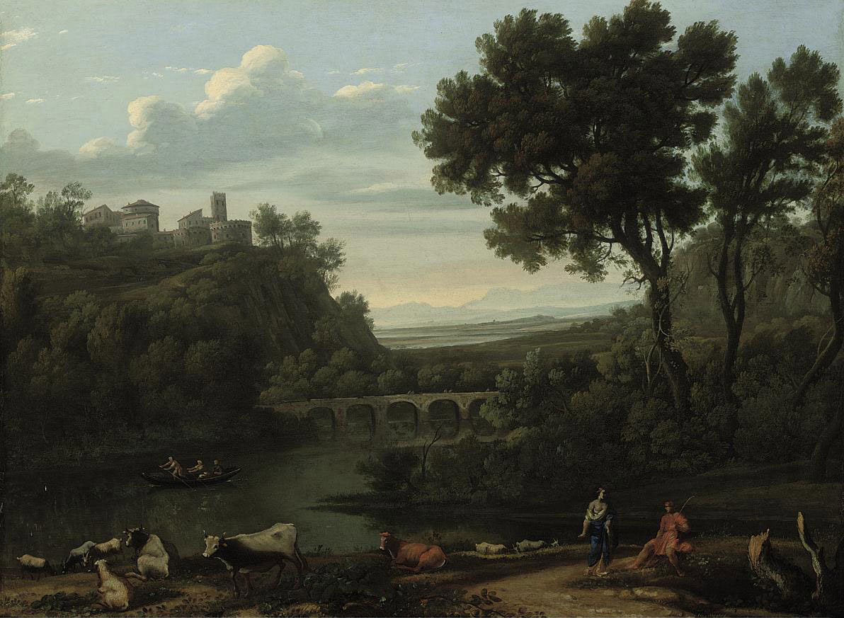 A wooded river landscape with shepherds and rowers on a boat, a castle beyond