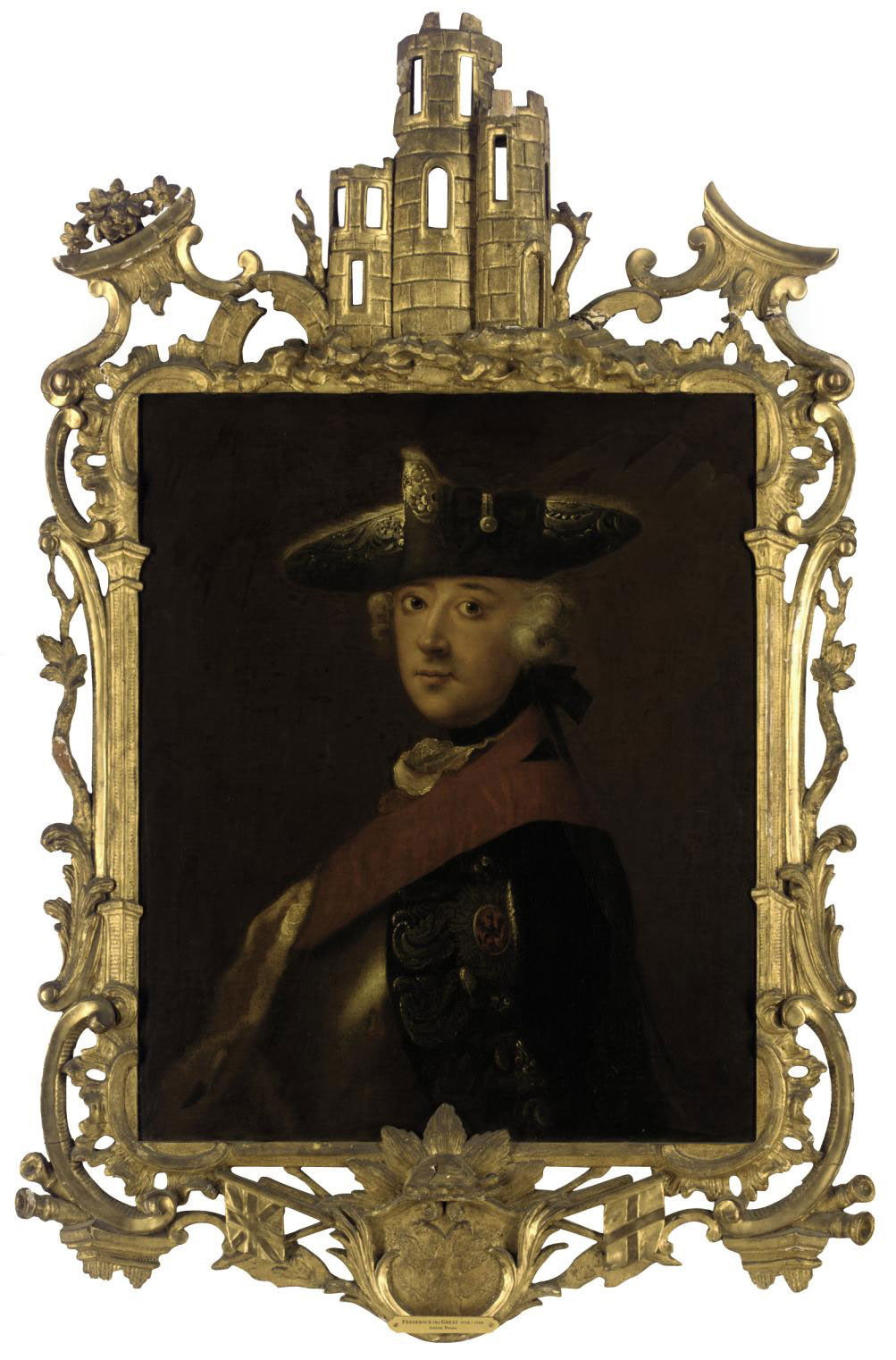 Portrait of Emperor Frederick the Great of Prussia (1712-1786), bust-length, wearing a Prussian order, in a silver-embroidered tricorn and ermine-lined mantle