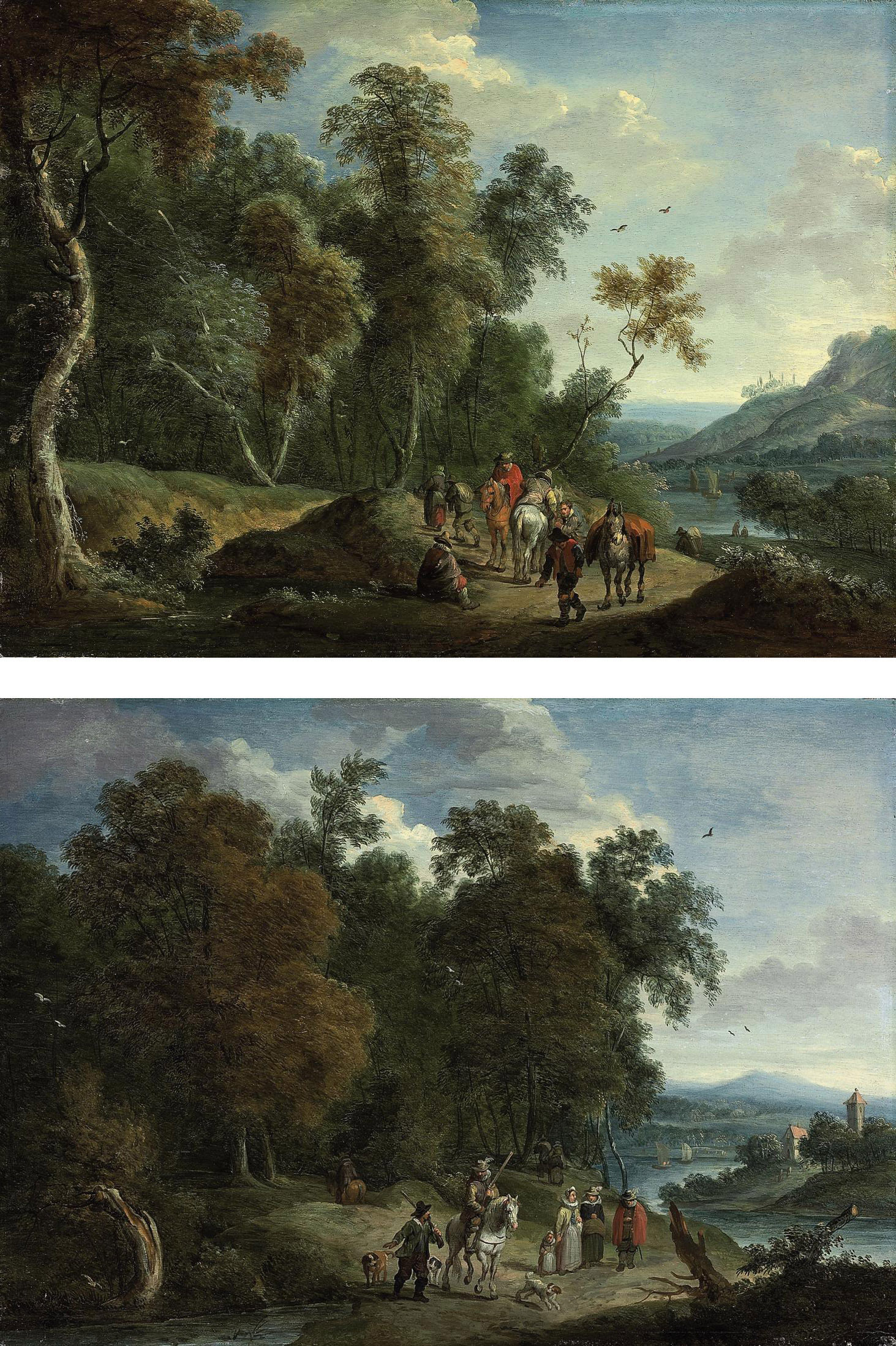 A wooded river landscape with a hunting party on a track; and A wooded river landscape with travellers on a track
