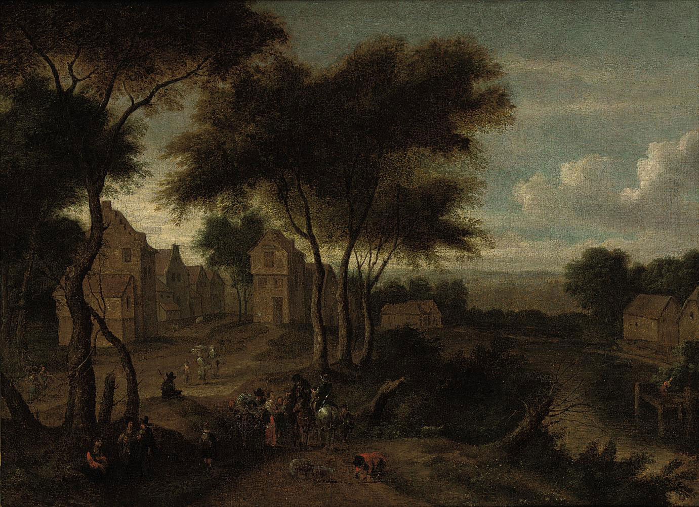 A river landscape with a village and travellers on a path