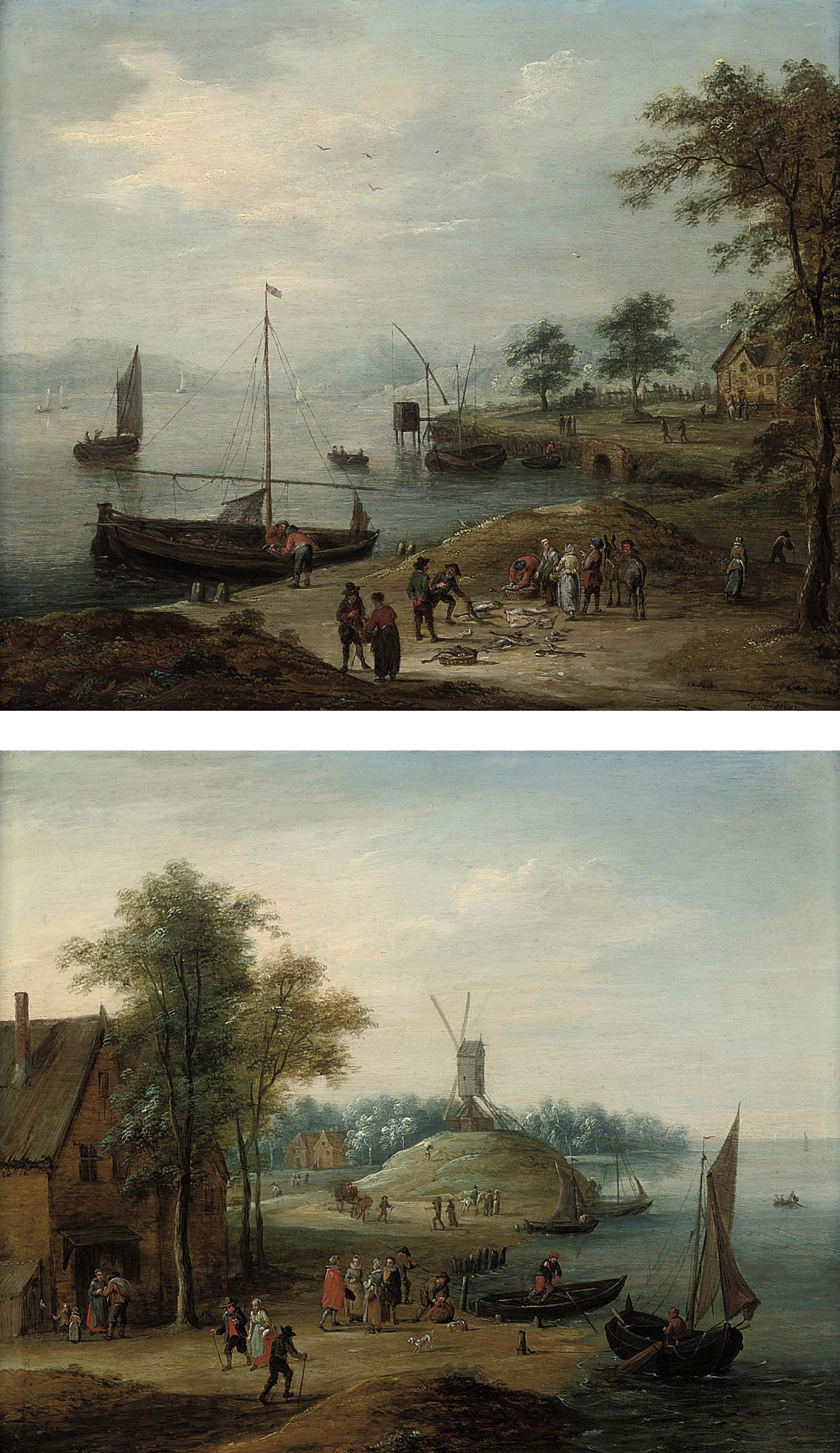 A coastal landscape with fishing boats before a house and a windmill beyond; and A costal landscape with fishermen selling their catch