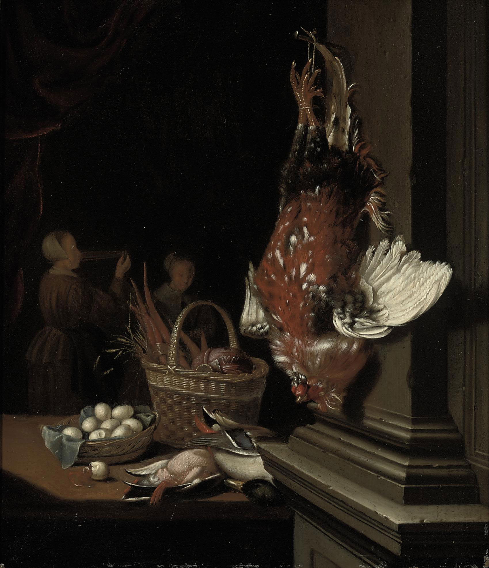 A dead cockerel hanging from a nail, ducks, eggs and carrots in wicker baskets on a table in an interior, two maids beyond