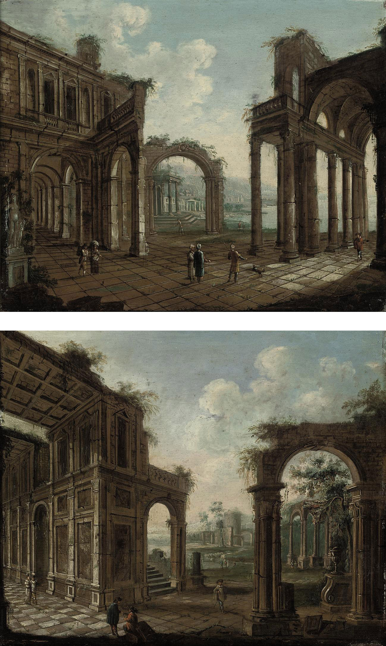 An architectural capriccio of classical ruins with travellers; and An architectural capriccio of classical ruins with figures in Oriental costumes conversing in the foreground