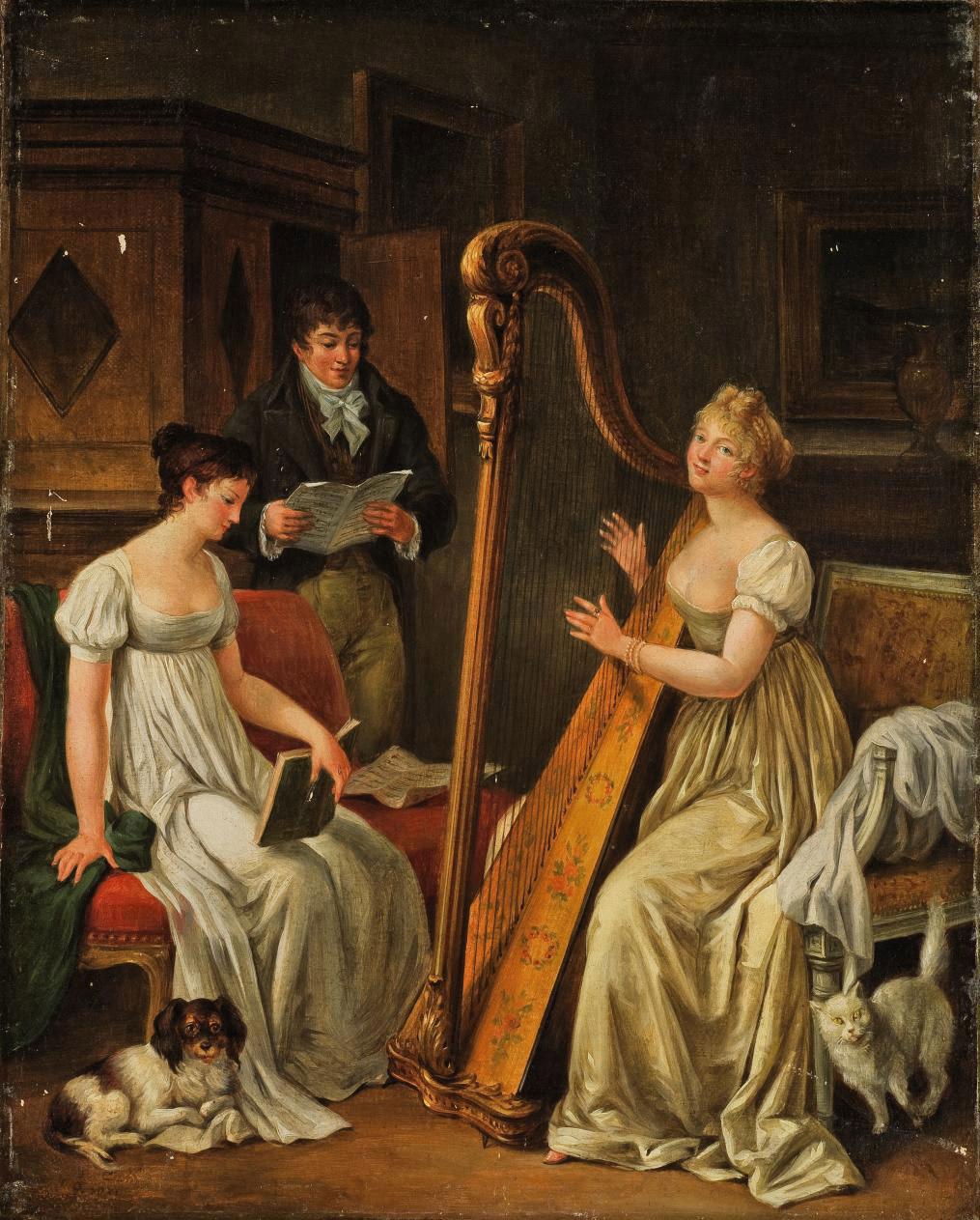 Elegant figures making music in an interior