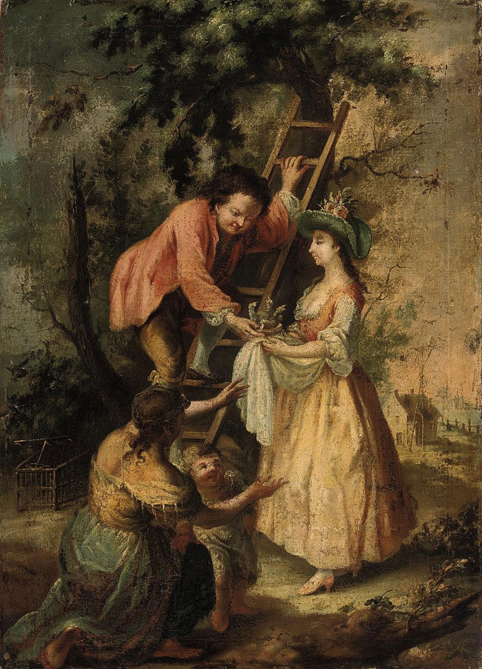 A wooded landscape with elegant company and a lady holding a nest