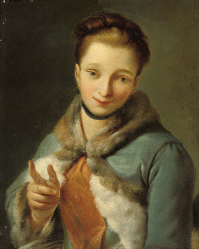 Portrait of a lady, half-length, in a blue cloak with ermine trim