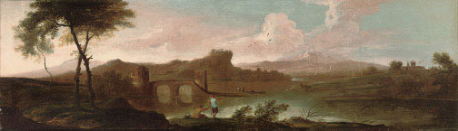 An extensive river landscape with anglers on the bank, a group of boaters by an arched bridge, buildings and a mountain range beyond