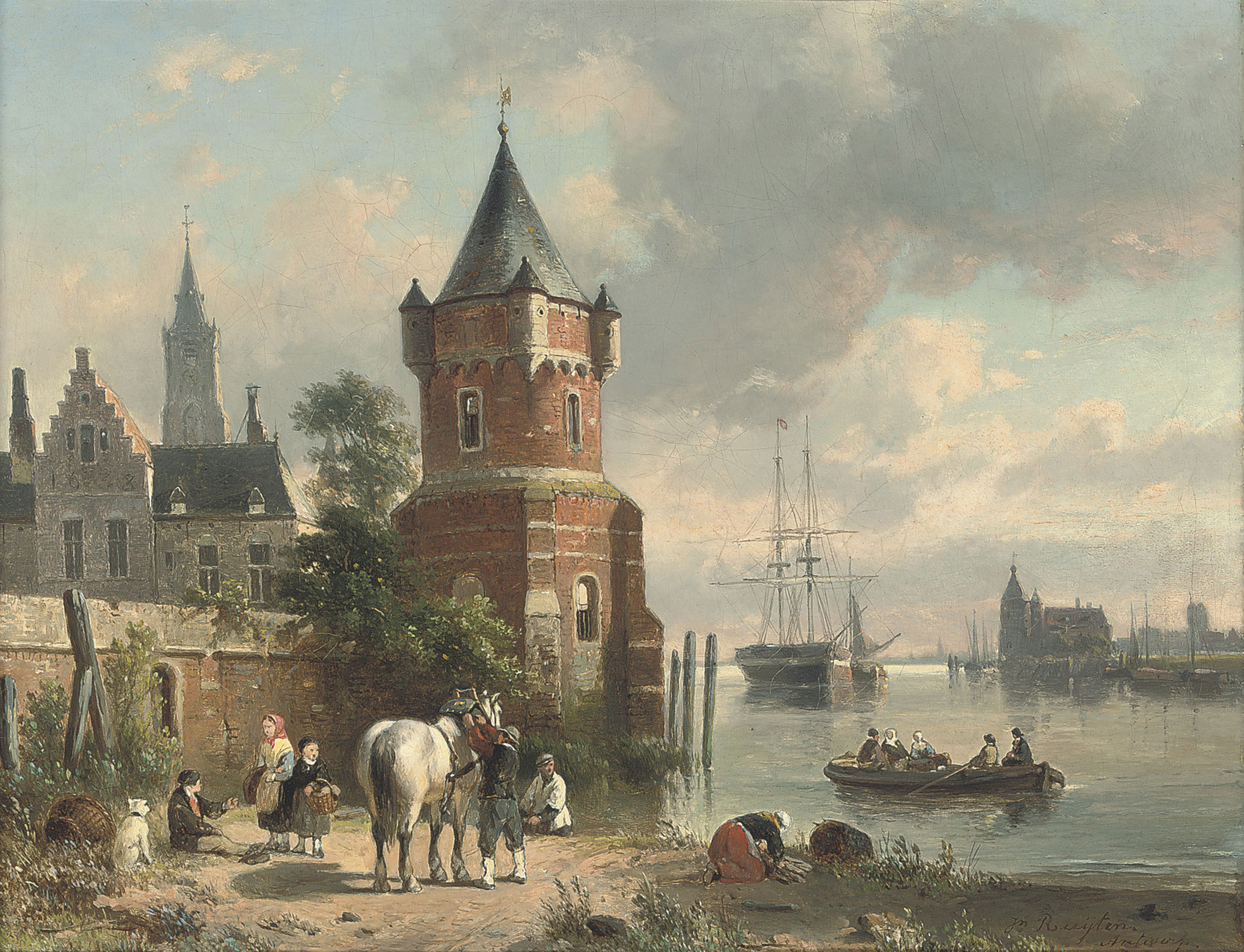 A coastal inlet with figures and a horse before a tower, a ferry beyond