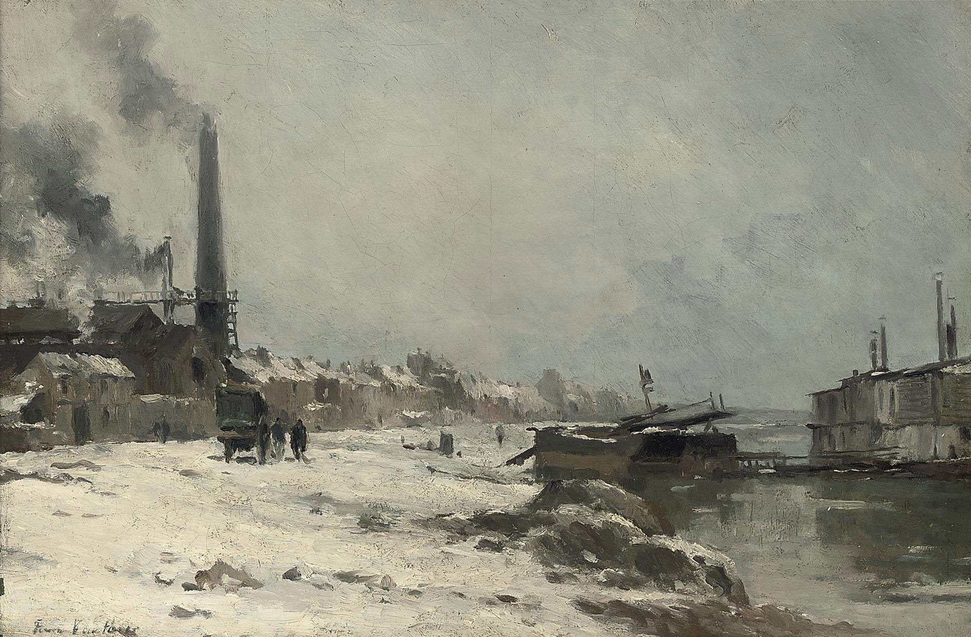 Figures by a factory on a river, winter