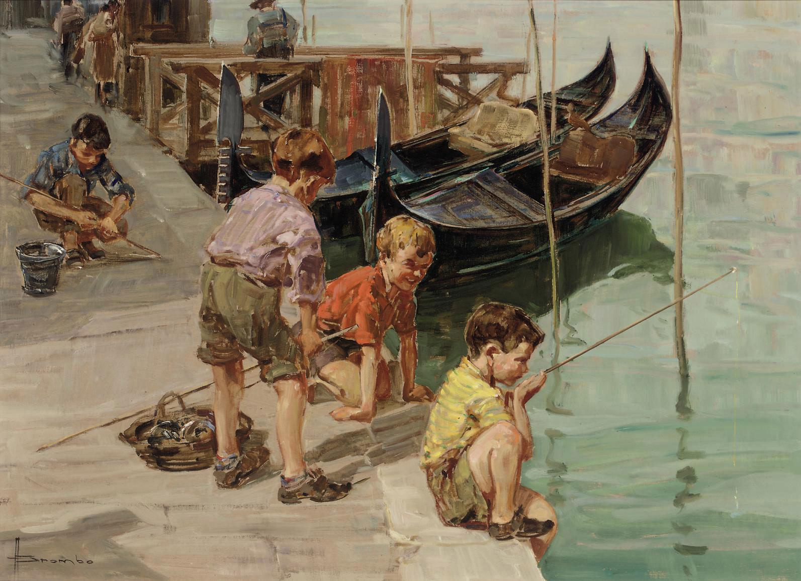 Fishing on a Venetian canal