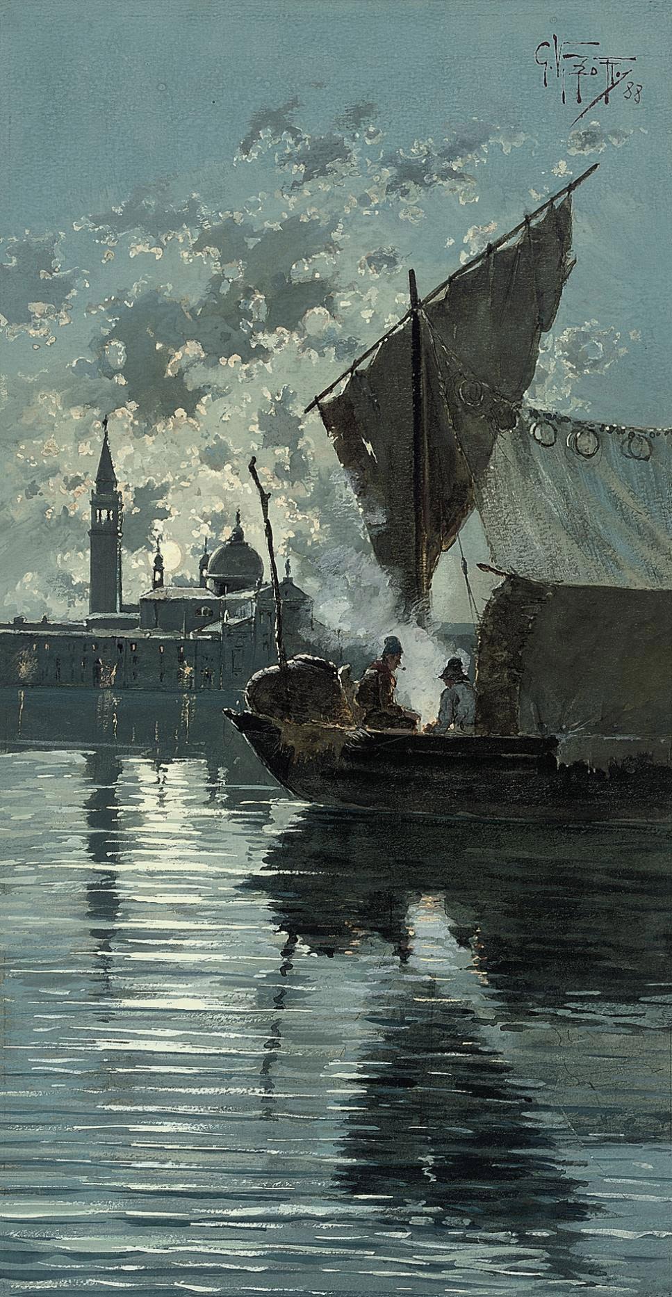 Fishermen on the lagoon before Venice under moonlight