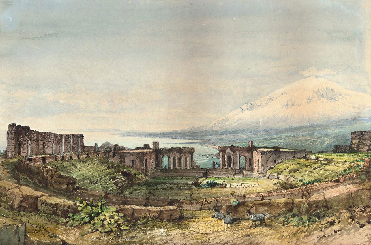 The amphitheatre at Taormina, Etna beyond