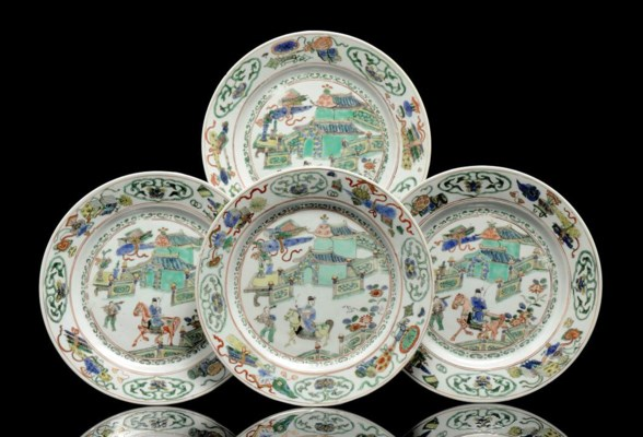 FOUR FAMILLE VERTE DISHES