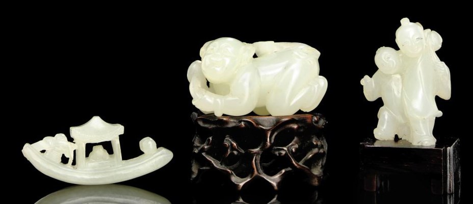 THREE SMALL WHITE JADE CARVING