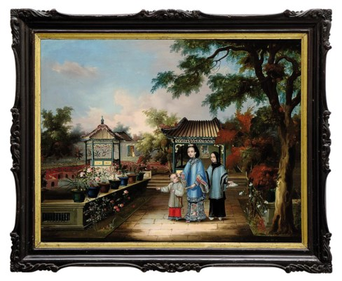 TWO CHINESE SCHOOL OIL PAINTIN