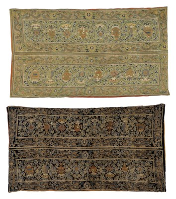 TWO PAIRS OF BROCADE SUTRA COV
