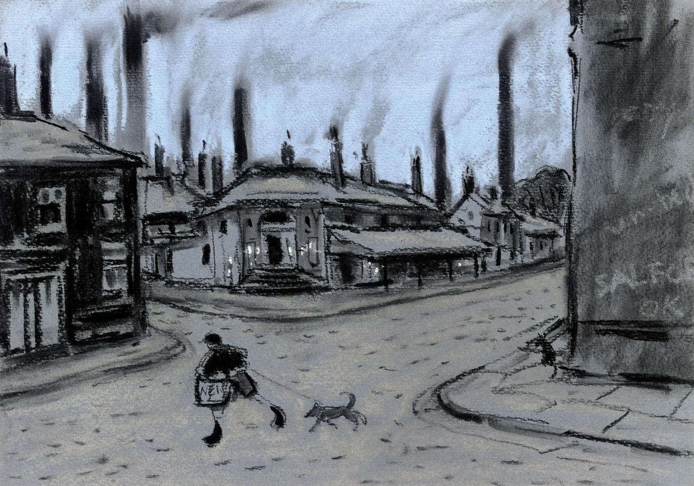School boy and his dog, Salford; and lithograph by the same hand