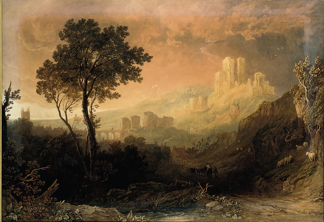 A drover and cattle below a ruined castle