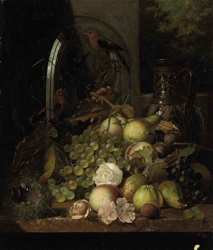 Grapes, pears, apples, peaches, plums, roses, a bronze tazza, a bird's nest and a glass dome containing red finches, on a wooden shelf