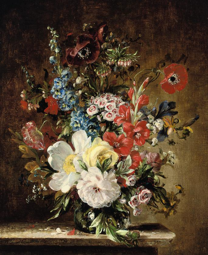 Summer flowers in a glass vase