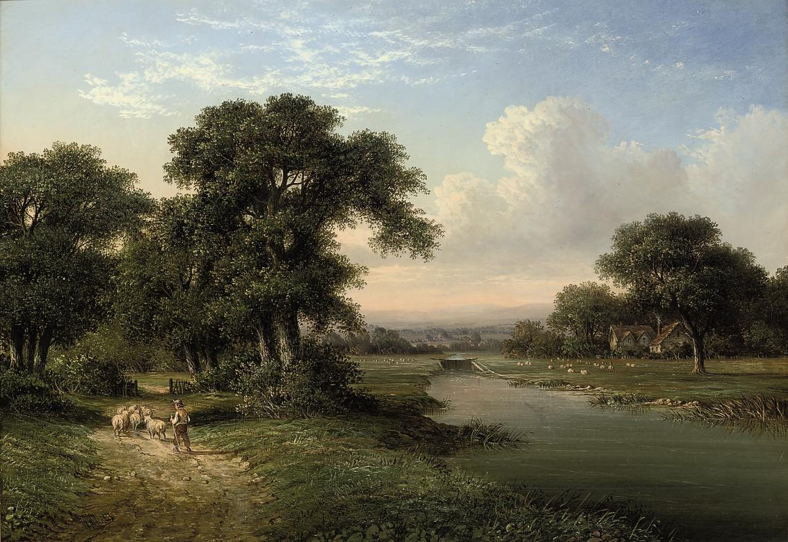 A shepherd boy driving home his sheep on a riverbank