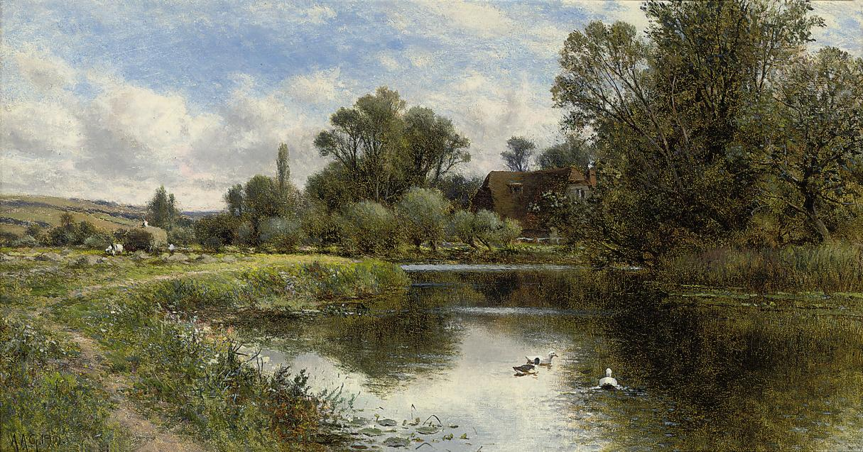 Ducks on a pond, a cottage beyond
