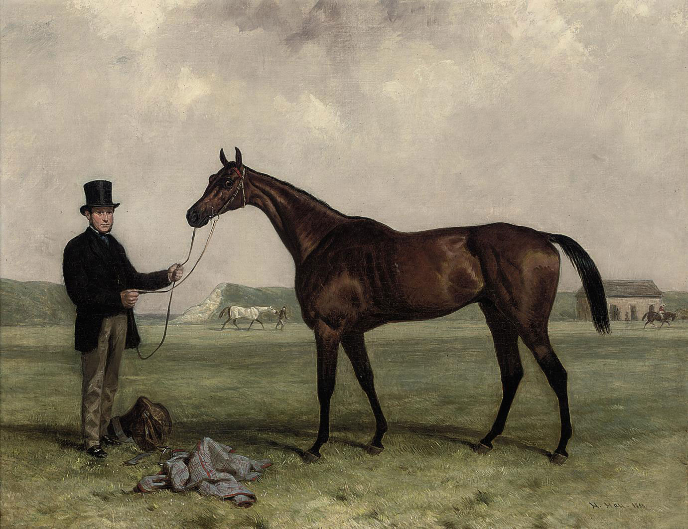 Gamester, winner of the 1859 Doncaster and Newmarket St. Legers, held by a groom, at Newmarket